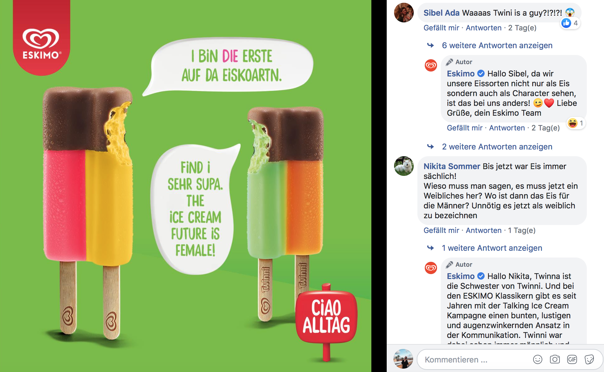 Screenshot Facebook Eskimo