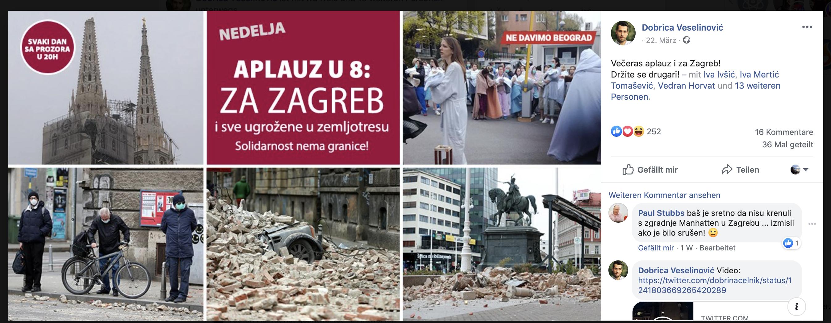 Aufruf zum Klatschen in Belgrad