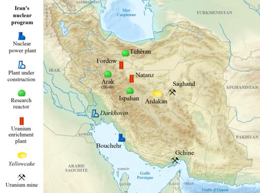 Landkarte Irak mit Atomanlagen