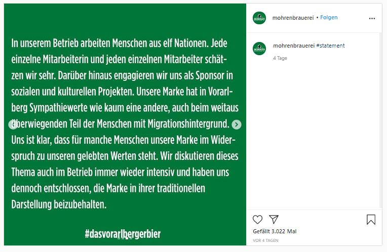 Statement der Brauerei (Foto: instagram.com/mohrenbrauerei/)