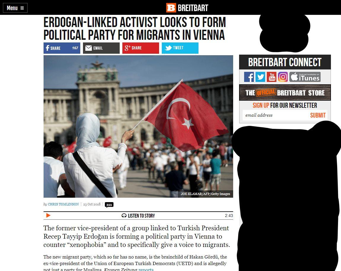 Screeenshot vom Online-Artikel von Breitbart
